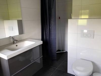 De badkamer met WC en douche